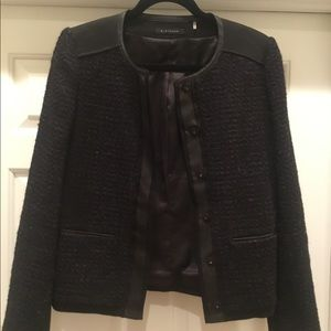 Elie Tahari Black & Purple Tweed Jacket - Medium
